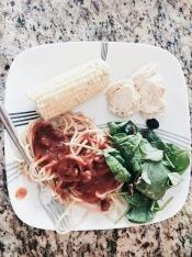 Pasta, salad, corn & bread